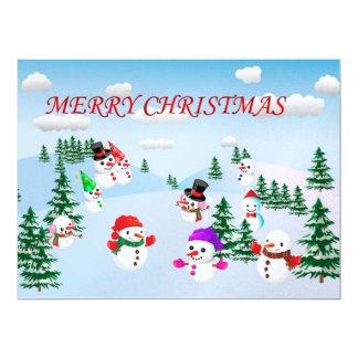 Merry Christmas snowmen illustration Custom Invitations