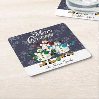 Merry Christmas Snowmen Pals | Christmas Square Paper Coaster