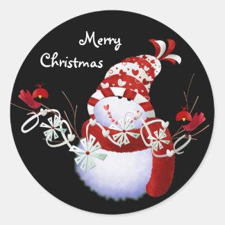 Merry Christmas Snowmen Stickers