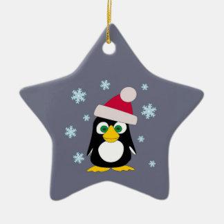 Merry Christmas Snowy Penguin Ceramic Star Decoration