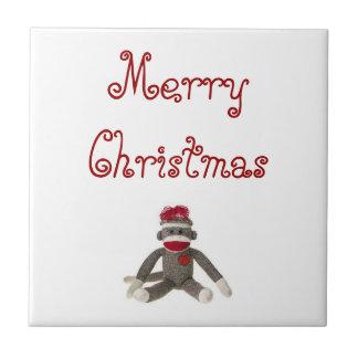 Merry Christmas Sock Monkey Decorative Tile