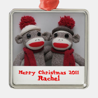 Merry Christmas Sock Monkey Ornament