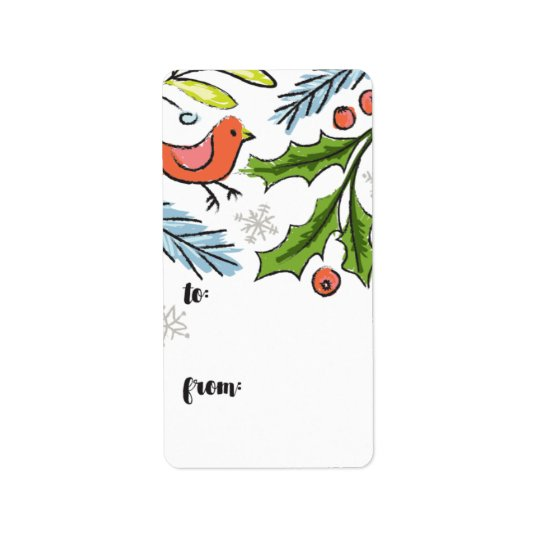 Merry Christmas Spruce Boughs Gift Tag