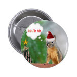 Merry Christmas Squirrel Saying Ho Ho Ho! Button