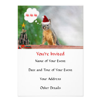 Merry Christmas Squirrel Saying Ho Ho Ho Custom Invite