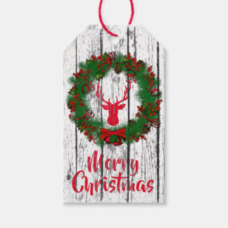 Merry Christmas Stag Head Wreath Wood Gift Tags