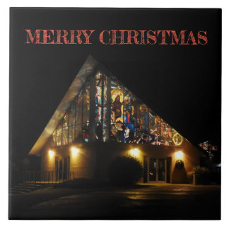 mERRY cHRISTMAS sTAINED GLASS CHURCH Tile