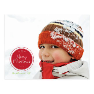 Merry Christmas Stamp Holiday Photo Postcard
