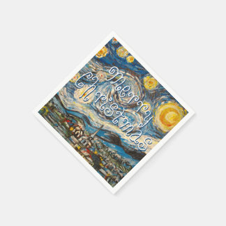 Merry Christmas Starry Night after Van Gogh Disposable Napkins