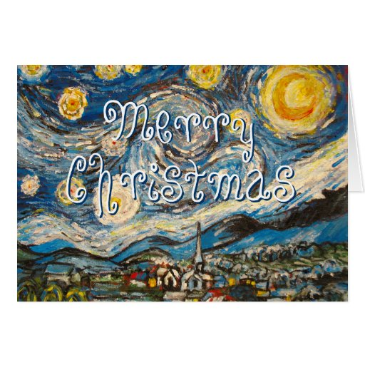 Merry Christmas Starry Night Van Gogh repainted Greeting Cards