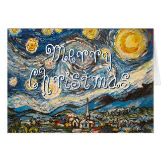 Merry Christmas Starry Night Van Gogh repainted Greeting Card