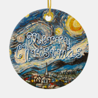Merry Christmas Starry Night Vincent Van Gogh Round Ceramic Decoration