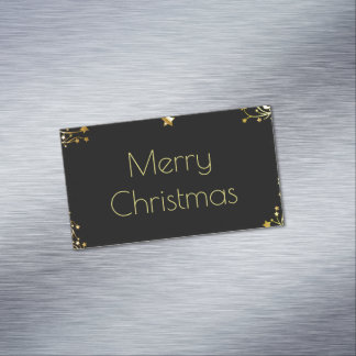 Merry Christmas Stars Black Gold Stylish Chic Magnetic Business Cards