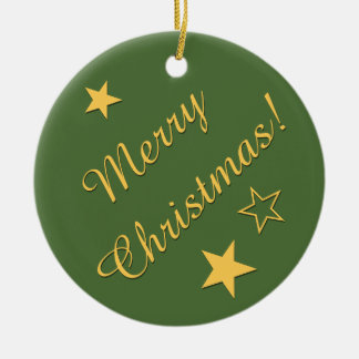 Merry Christmas Stars Customizable Text Green Gold Christmas Tree Ornament