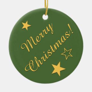 Merry Christmas Stars Customizable Text Green Gold Round Ceramic Decoration
