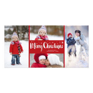 Merry Christmas Stars Holiday Photo Collage Card Customized Photo Card
