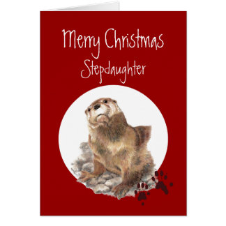 Merry Christmas Stepdaughter Otter Animal Humor Card