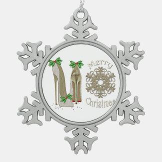 Merry Christmas Stiletto Shoes Snowflake Ornament