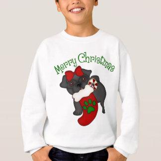 Merry Christmas Stocking Black Pug Sweatshirt