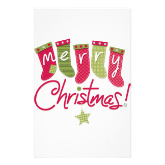 Merry Christmas Stockings Custom Stationery
