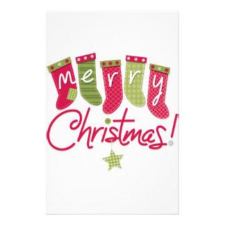 Merry Christmas Stockings Customized Stationery