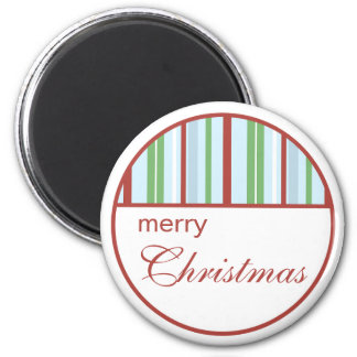 Merry Christmas Striped Holiday Magnet