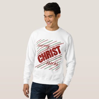 merry CHRISTmas striped Immanuel men's sweatshirt
