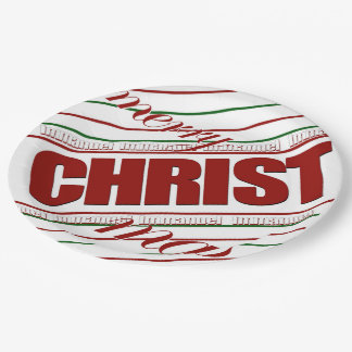 merry CHRISTmas striped Immanuel paper plates