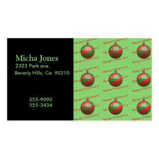 Merry Christmas Striped Ornaments Business Card Templates