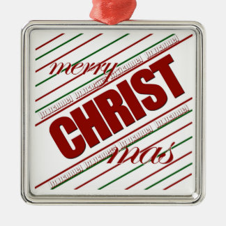 merry CHRISTmas striped square ornament