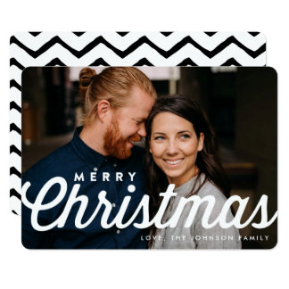 Merry Christmas Stylish Typography Photo Card