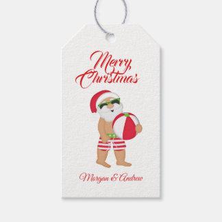 Merry Christmas Summer Santa Claus Beach Ball Gift Tags