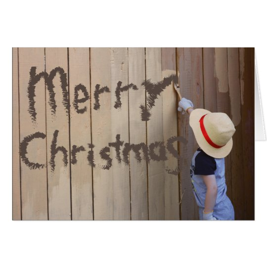 Merry Christmas Sunhat Boy Painting Fence Card