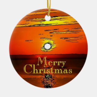 Merry Christmas Sunset Ornament