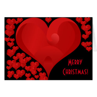 Merry Christmas, Sweet Valentine Love Hearts Red Greeting Card