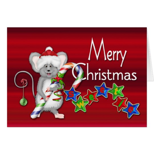 Merry Christmas Sweetie! - Mouse/Candy Cane Card