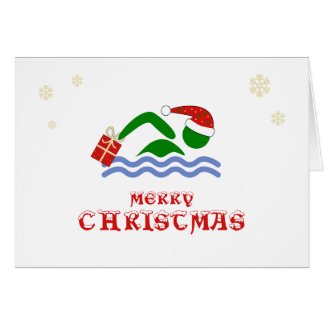 Merry christmas swimmer bringing gift card
