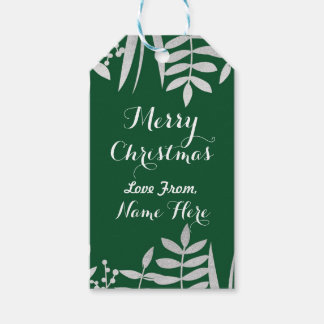 Merry Christmas Tags Merry Xmas Tag Green & Silver