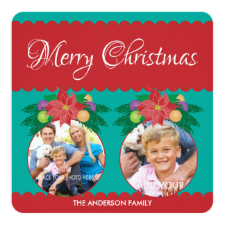 Merry Christmas, Teal & Red Poinsettia 2 Photo 13 Cm X 13 Cm Square Invitation Card
