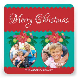 Merry Christmas, Teal & Red Poinsettia 2 Photo Personalized Invites