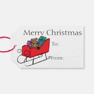 Merry Christmas Teddy and Sleigh Gift Tags