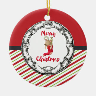 Merry Christmas Teddy Bear In Vintage Circle Round Ceramic Decoration