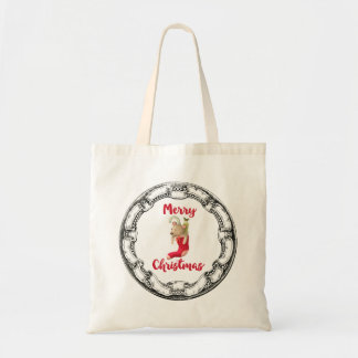 Merry Christmas Teddy Bear In Vintage Frame Budget Tote Bag