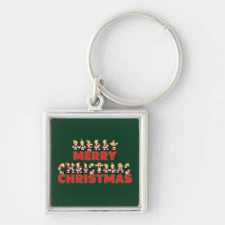 Merry Christmas Teddy Bear Santa Claus Letters Silver-Colored Square Key Ring