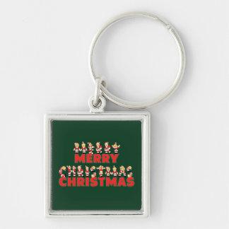 Merry Christmas Teddy Bear Santa Claus Letters Keychain