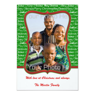 Merry Christmas Text Green Photo Card 13 Cm X 18 Cm Invitation Card