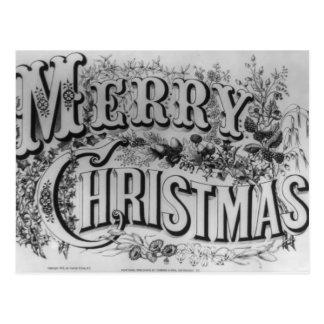 Merry Christmas Text Postcard