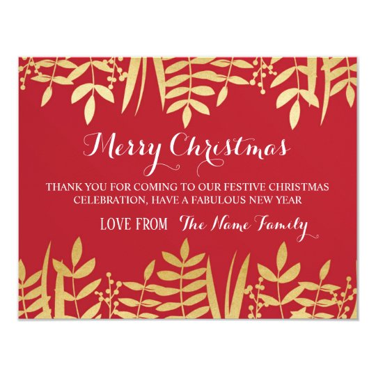 Merry Christmas Thank you Cards Red & Gold