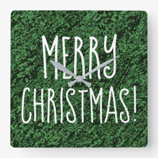 MERRY CHRISTMAS Theme Fun Forest Green Square Wall Clock
