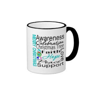 Merry Christmas Thyroid Cancer Ribbon Collage Mug